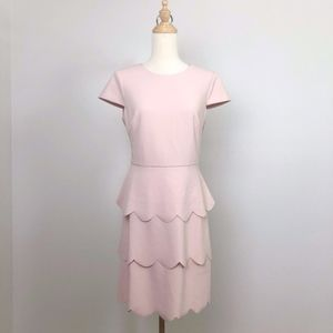 Vince Camuto Pink dress w/ scalloped Tiered skirt